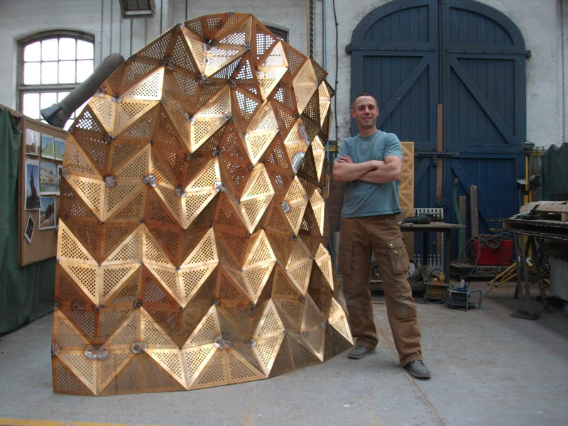 Alex Pentek with Unfurl in progress at the National Sculpture Factory, Cork, Ireland. 2013
