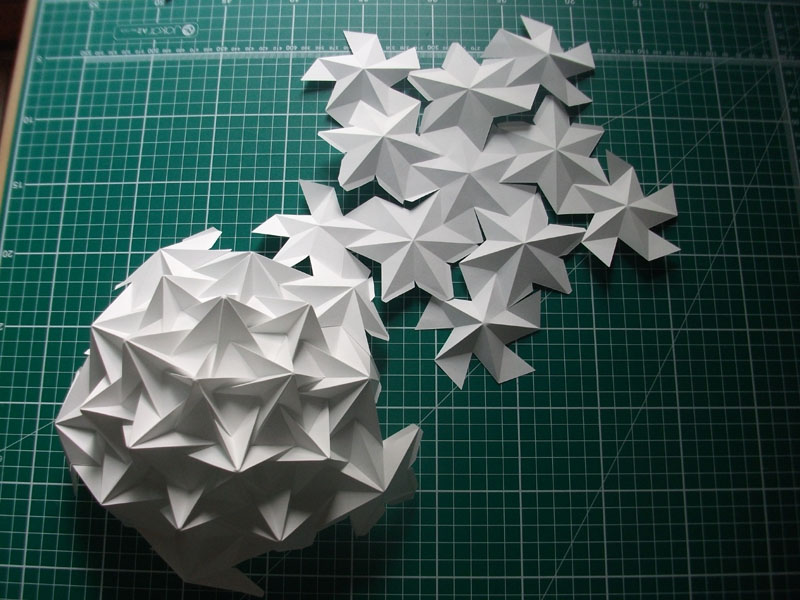 Assembly of stellated dodecahedron 3. Alex Pentek 2014.